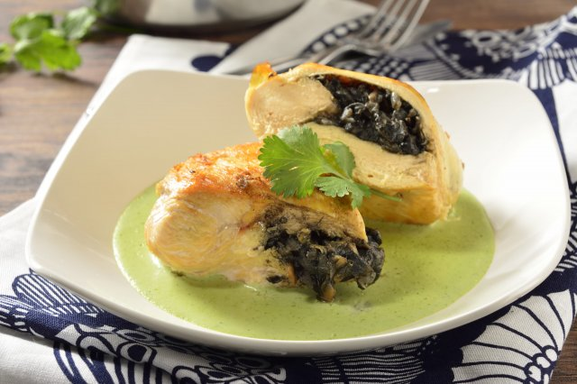 Stuffed Breasts of Huitlacoche in Cilantro Sauce