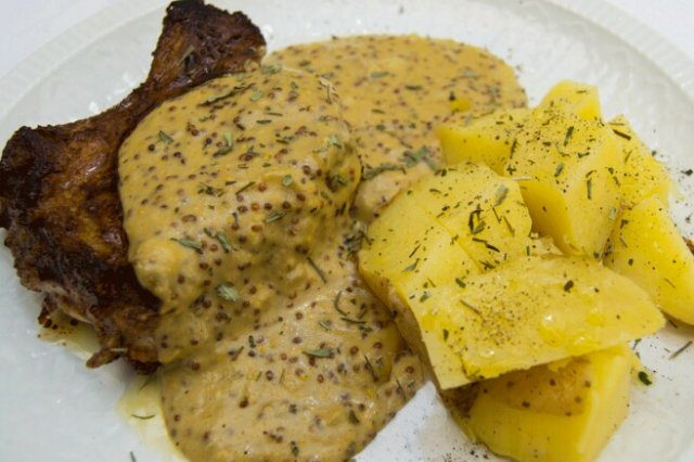 Chops with Sweet Mustard Sauce