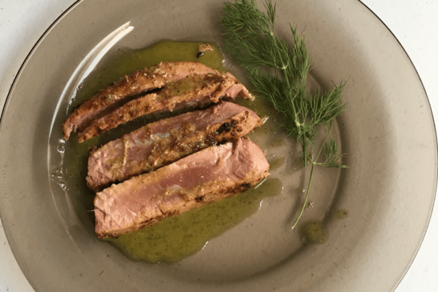 Tuna Seared with Old Mustard Vinaigrette and Honey