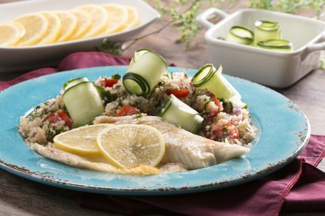 Lemon Fish with Quinoa and Parsley