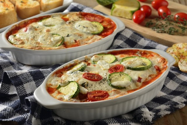 Zucchini Gratin with Easy Tomato Sauce