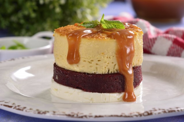 Vanilla Flan with Panela Cheese and Cranberry Jelly