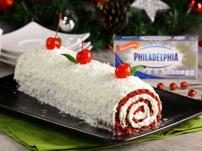 Red Velvet Roll Escarchado con Coco