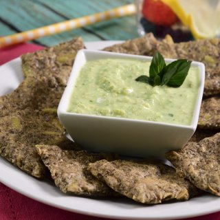 Chia Biscuits with Vegan Avocado Dip