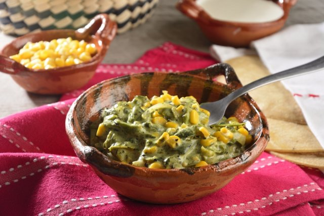 Rajas with Cream and Grains of Elote