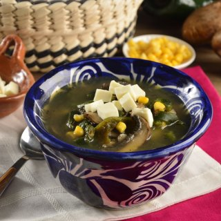 Soup Poblana with Mushrooms and Elote
