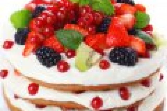 Cake with Cream and Blackberries