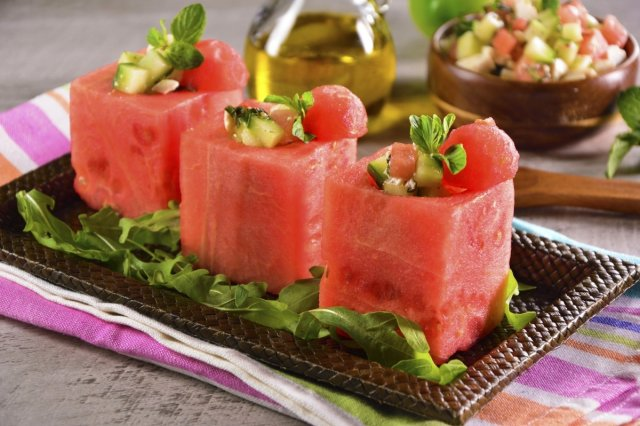 Glasses of Watermelon with Cucumber Salad and Feta Cheese
