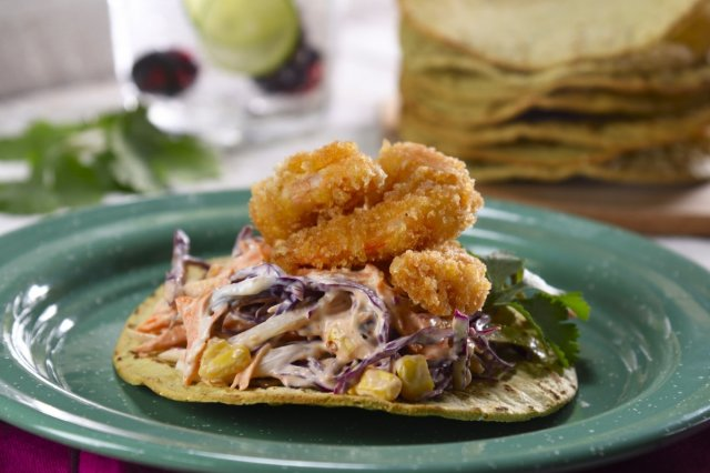 Tostadas with Fried Shrimp