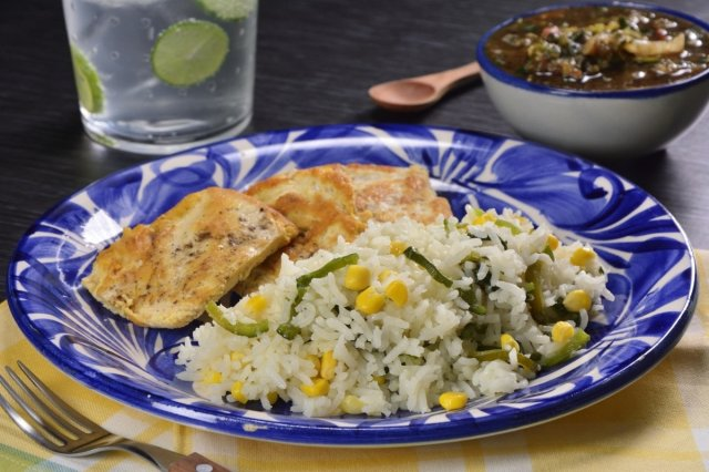 White Rice with Elote and Poblano