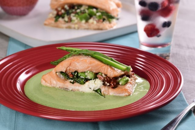 Spinach Stuffed Salmon and Goat Cheese