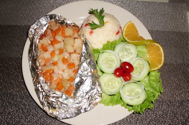 Fish fillet in aluminum with BBQ