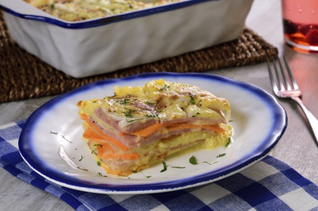 Potato Lasagna and Sweet Potato