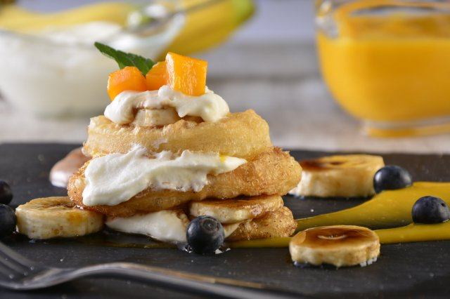 Banana Tower with Passion Fruit