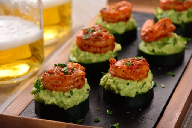 Cucumbers with Avocado and Shrimp