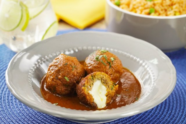 Chipotle Meatballs Stuffed with Cheese