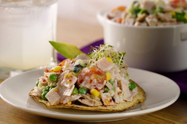 Creamy Salad Tostadas with Turkey and Vegetable Breast