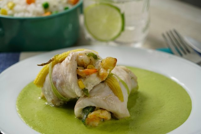 Fish Stuffed with Shrimp in Salsa Poblana