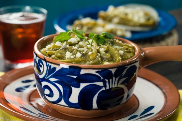 Nopales with Rajas in Green Sauce