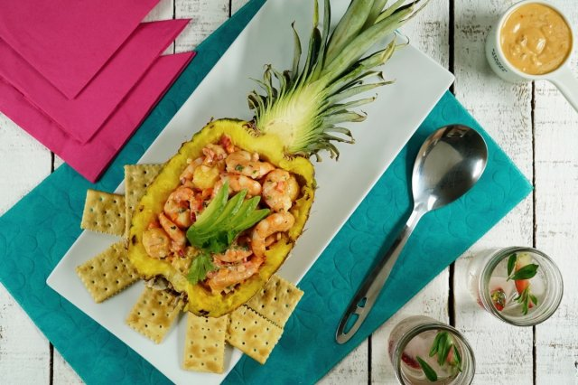 Pineapple Stuffed with Hawaiian Salad with Shrimp