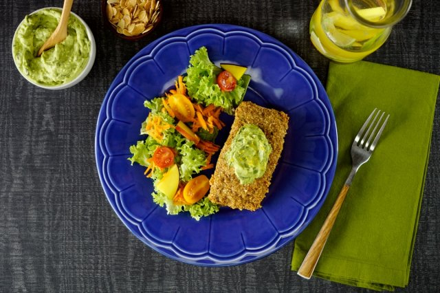 Salmon in Almond Crust with Avocado