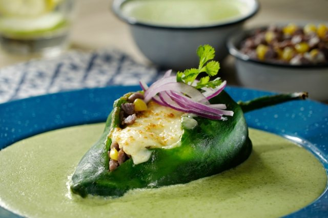 Poblano Chilies Stuffed with Beef and Cilantro Sauce