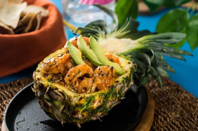 Pineapple Stuffed with Sweet and Sour Shrimp