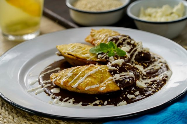 Plantain Quesadillas with Mole