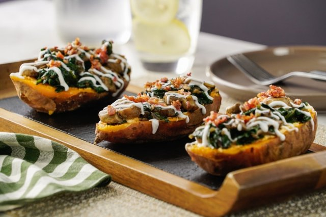 Mushroom Stuffed Sweet Potatoes