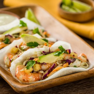 Jicama tacos with Chipotle Shrimp