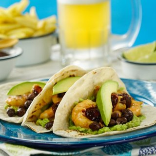 Shrimp with Black Beans Tacos