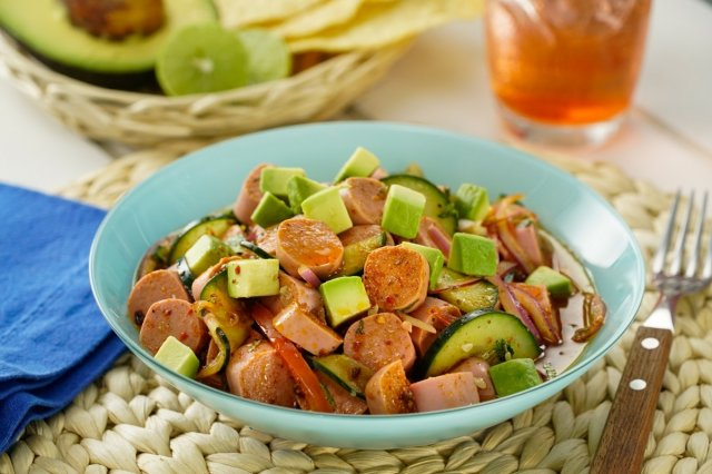 Spicy Red Aguachile with Sausage