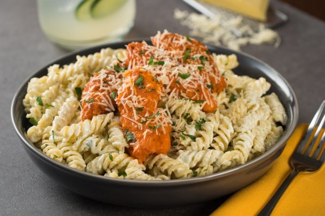 Buffalo Chicken Pasta with Ranch Dressing
