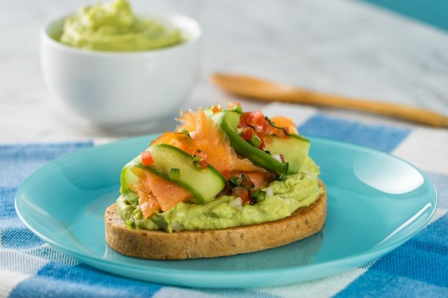Avocado Hummus Toast with Salmon