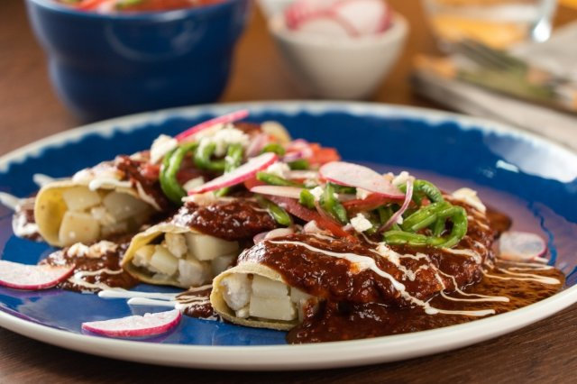 Veggie Enchiladas with Spicy Sauce