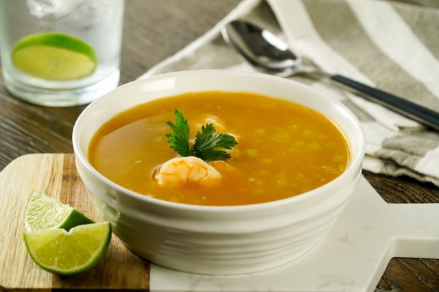 Chayote Squash Soup with Shrimp