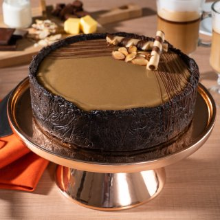 Cappuccino Flan Stuffed Chocolate Cake