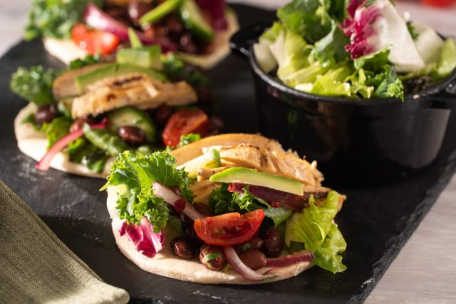 Pita Bread with Grilled Chicken and Salad