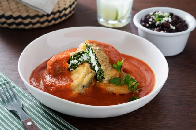 Cottage Cheese Stuffed Huauzontles with Tomato Caldillo