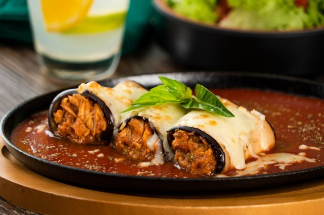 Tuna Stuffed Eggplant Cannelloni