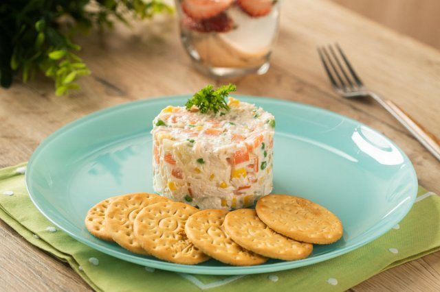 Russian Salad Cake with Chicken