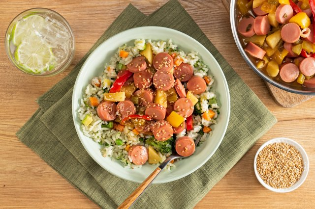 Bowl of Rice with Vegetables and Sweet and Sour Sausage