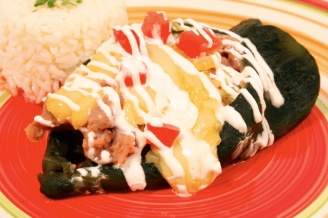Chile Stuffed with Beans and Cheese