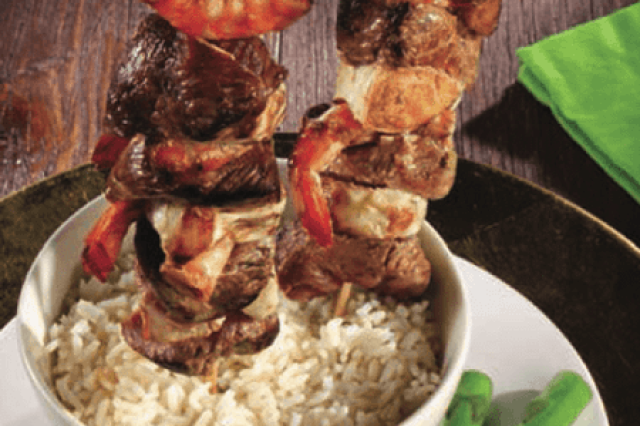 Trio Skewers with Rice