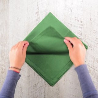 How to fold napkins in the shape of a Christmas tree